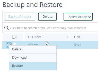 Restore Netscaler Backup