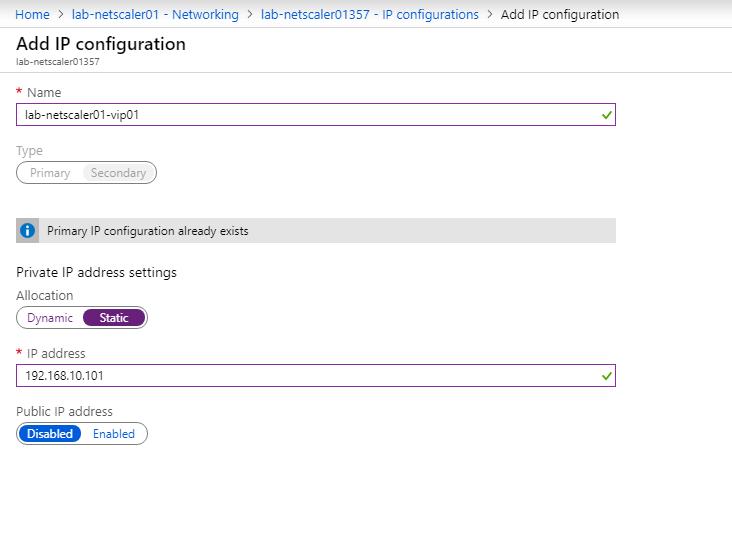 Deploy Citrix ADC 12.1 on Microsoft Azure