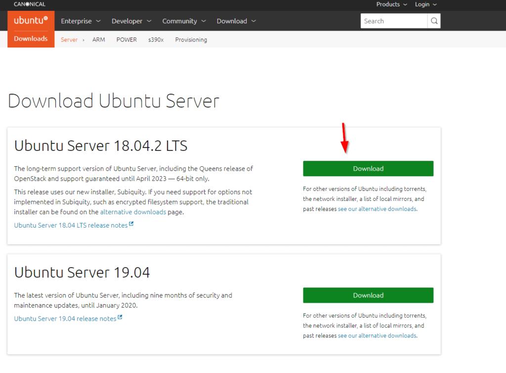 Download Ubuntu Server