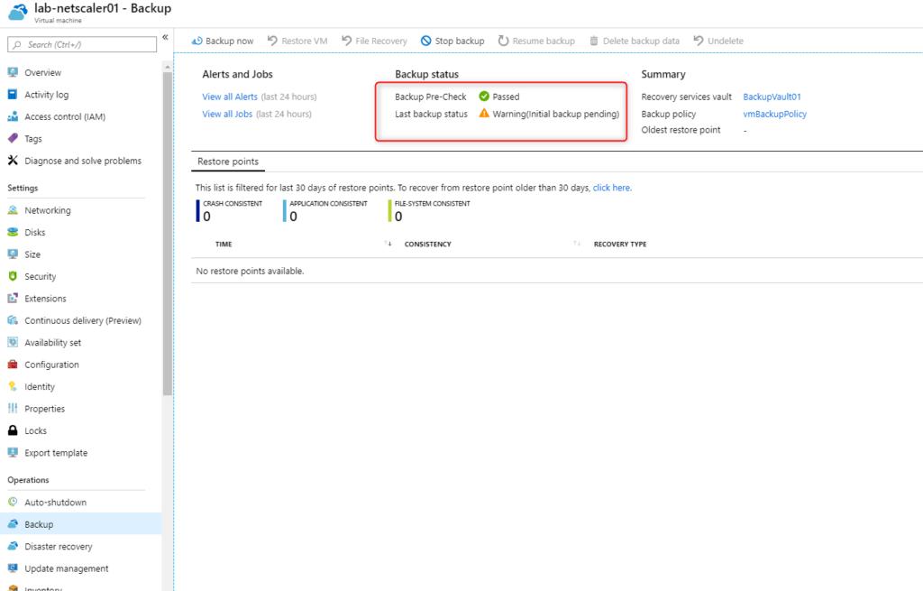 Configure Microsoft Azure Backup for VMs Status