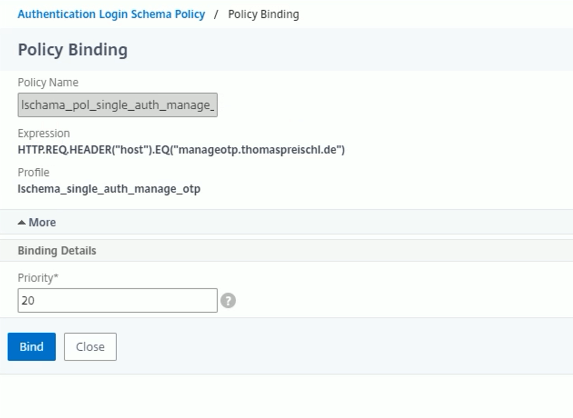 Policy Binding – Hostname Check for OTP Management