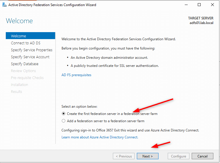 Configure Microsoft Active Directory Federation Services