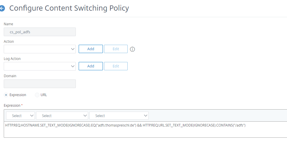 Citrix ADC ADFS Contentswitch