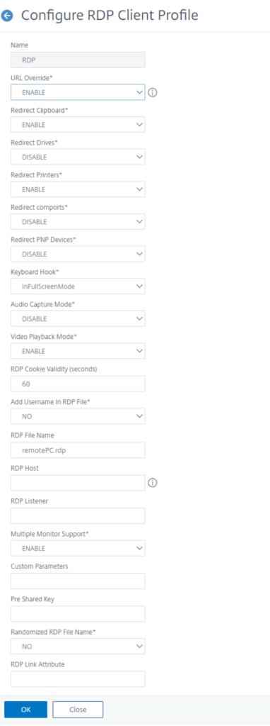Citrix ADC as RDP Proxy - RDP Profile