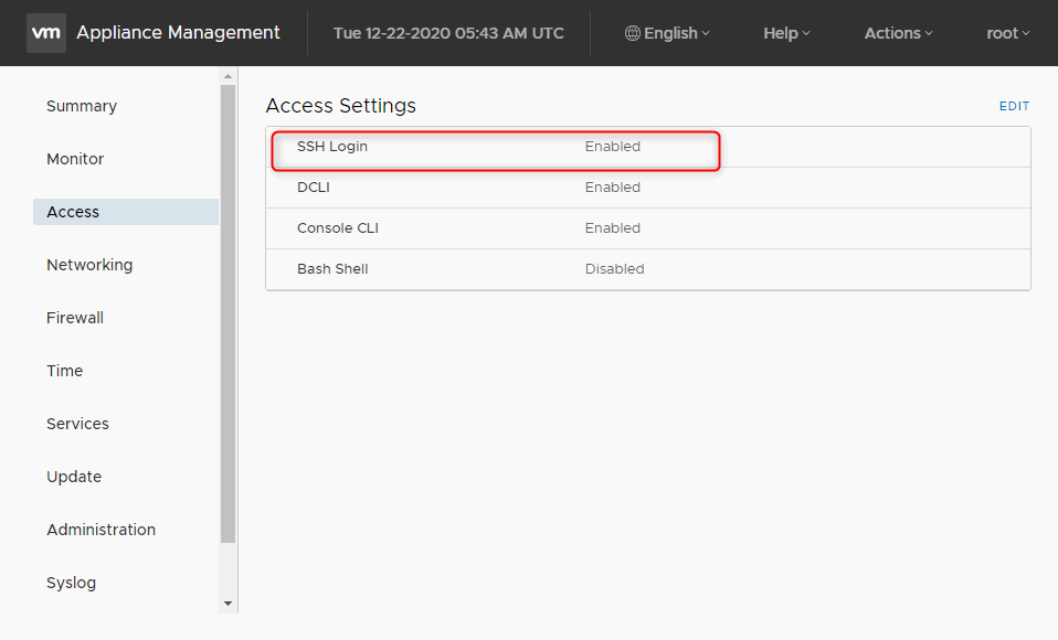 vcenter appliance active the ssh login