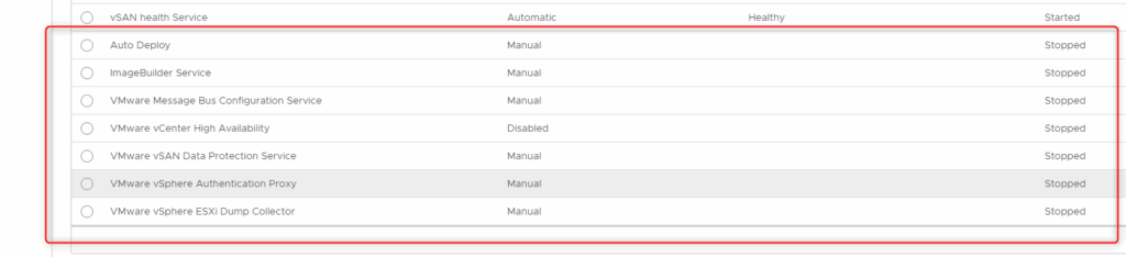 vCenter disabled or stopped services